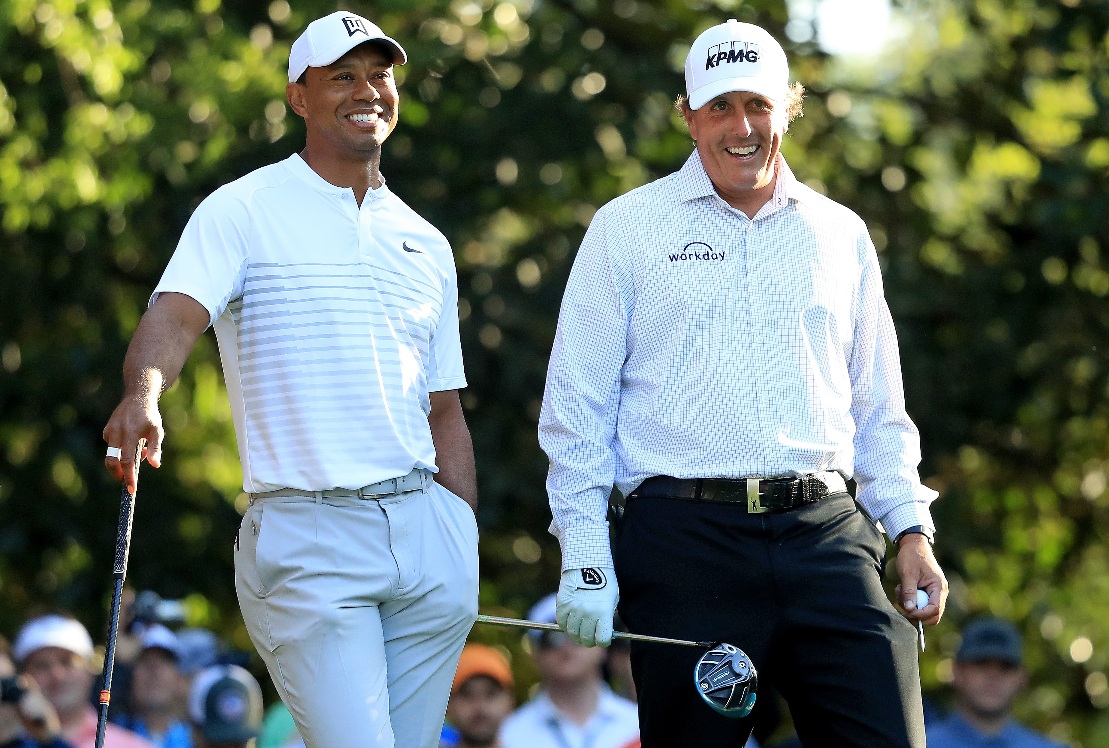 Tiger Woods and Phil Mickelson at the 2018 Masters