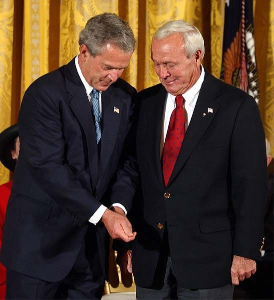 President George W. Bush and Arnold Palmer
