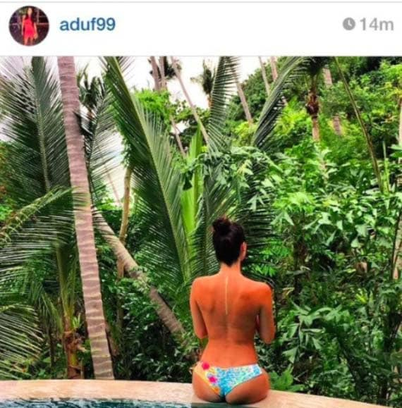 Amanda Dufner sharing, and then deleting this topless photo