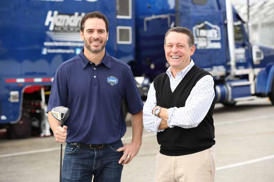 Race car driver Jimmie Johnson with Jimmy Roberts.