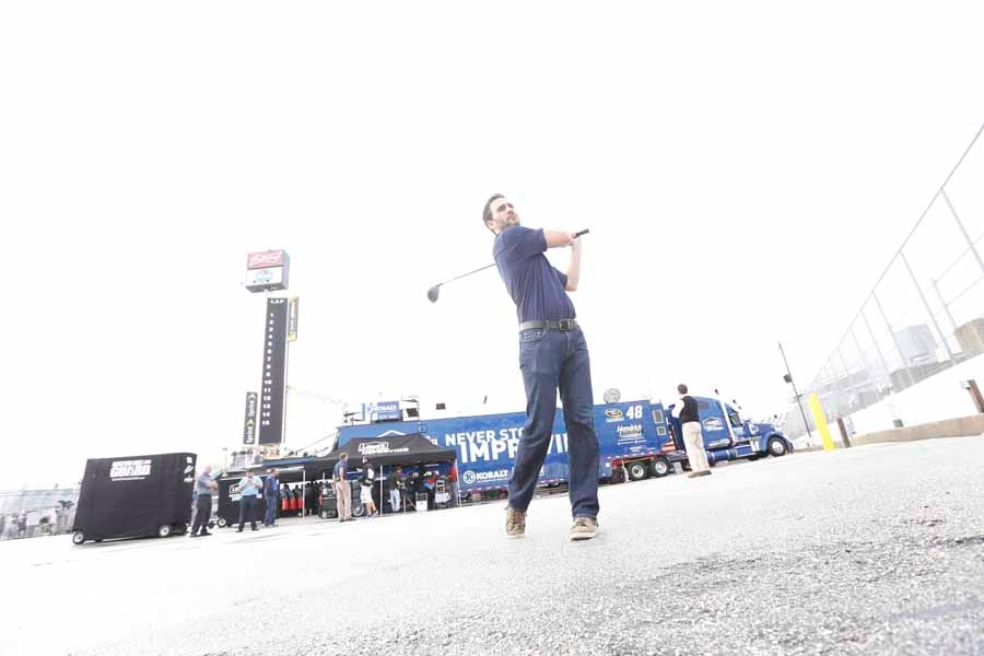 Jimmie Johnson Practicing His Swing