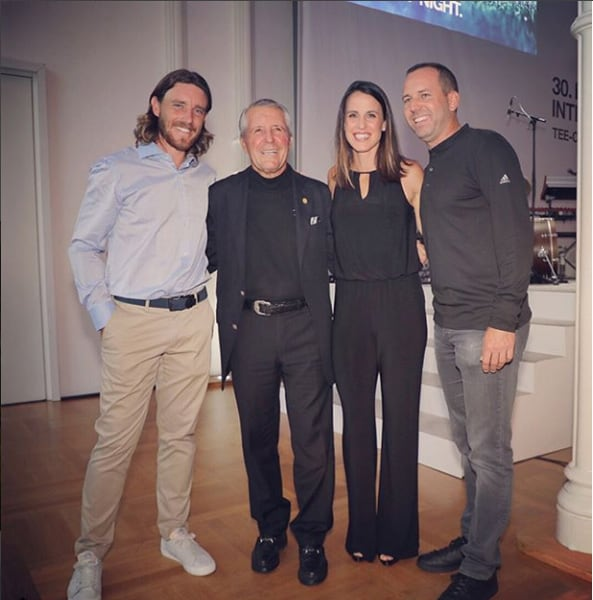 Tommy Fleetwood, Gary Player, and Angela and Sergio Garcia
