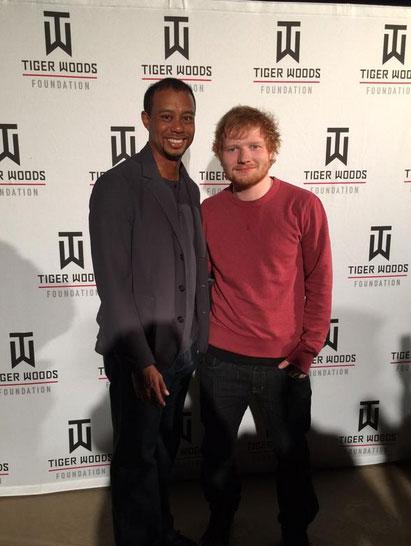 Tiger Woods and Ed Sheeran