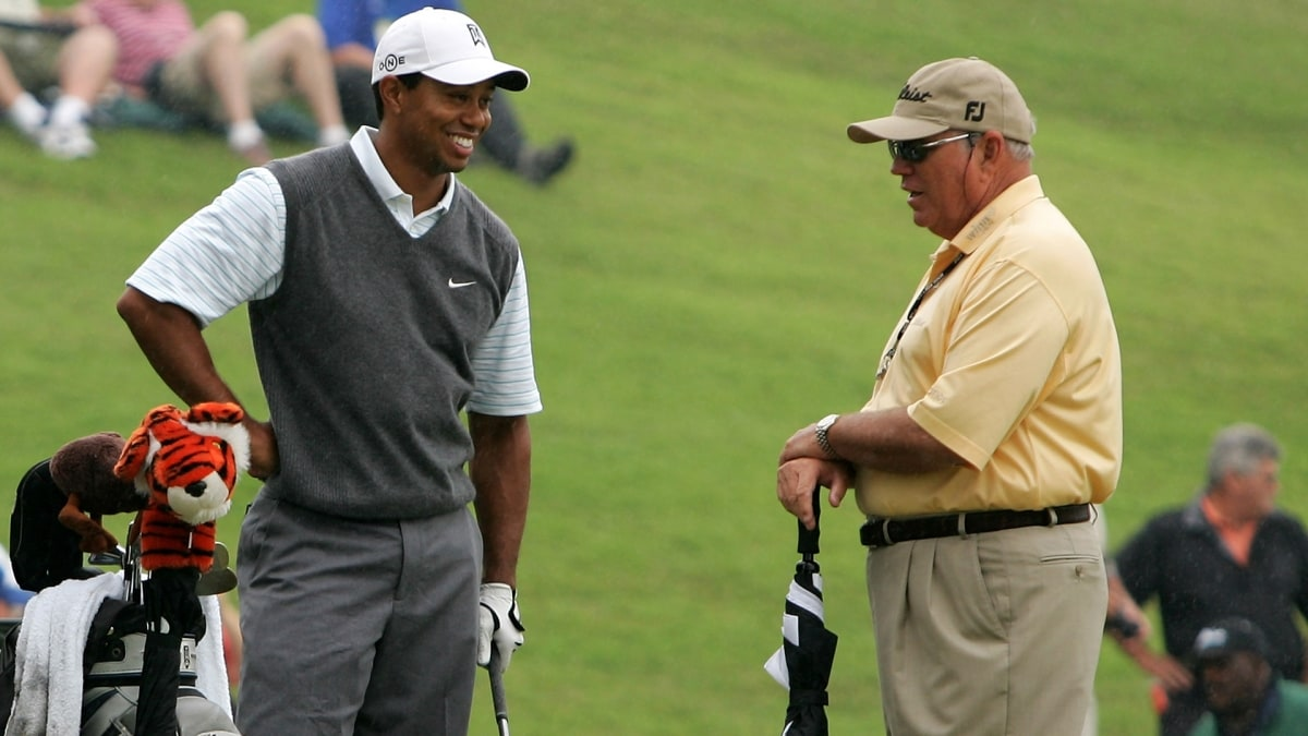 Tiger Woods and Butch Harmon at the 2007 Players Championship.