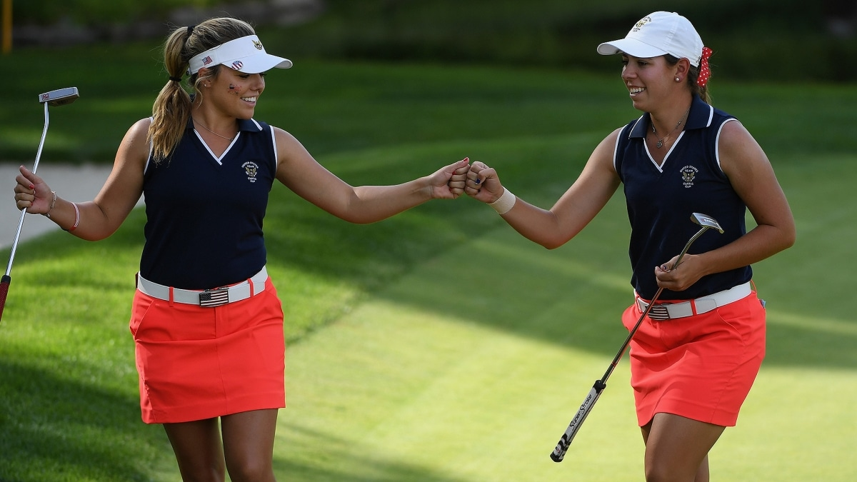 Lauren Stephenson and Kristen Gillman at the 2018 Curtis Cup
