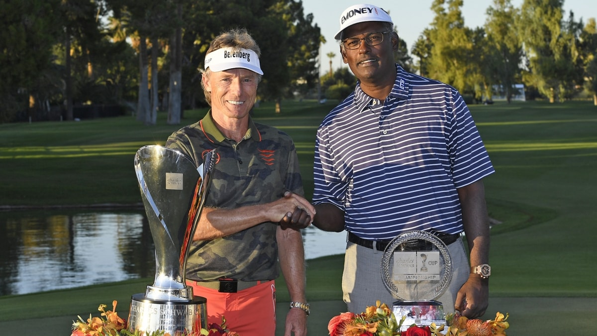 Bernhard Langer and Vijay Singh at the Charles Schwab Cup Championship