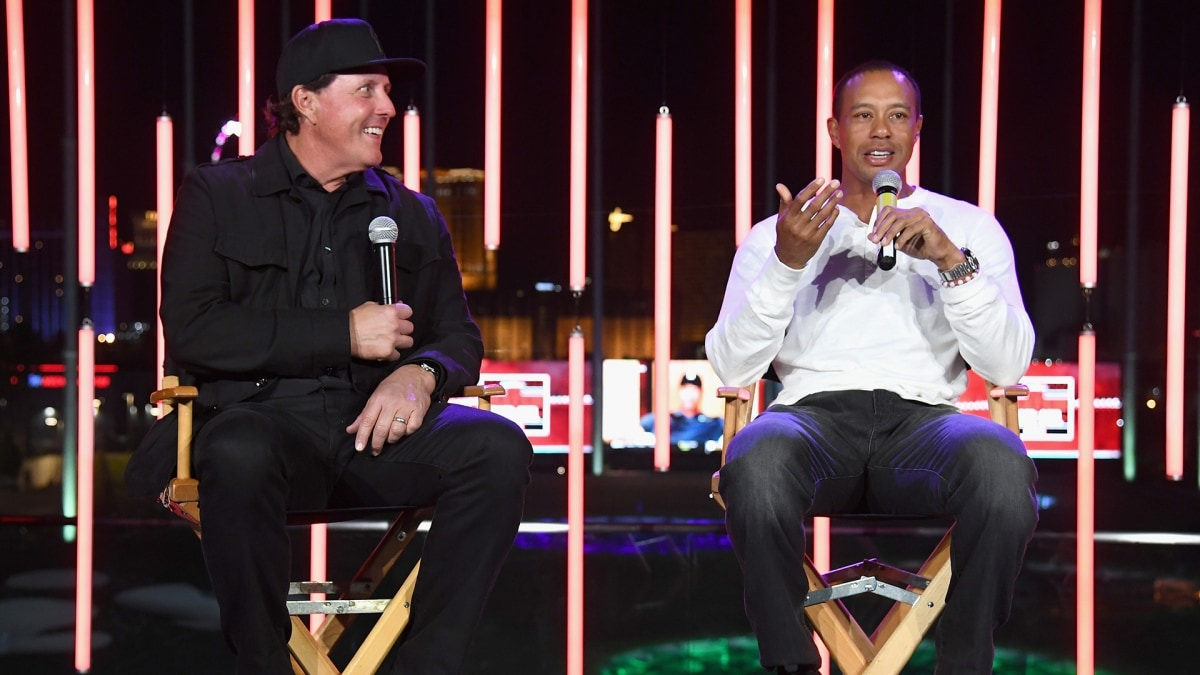 Phil Mickelson and Tiger Woods at 'The Match&#039 afterparty