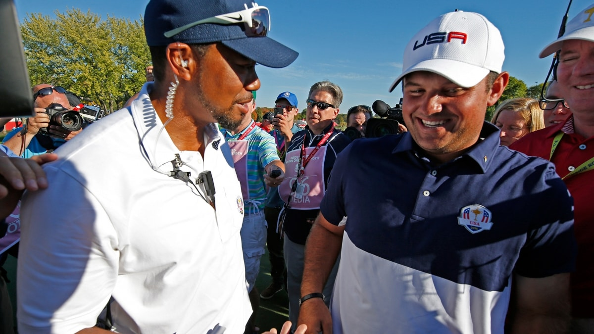 Tiger Woods and Patrick Reed at the 2016 Ryder Cup.