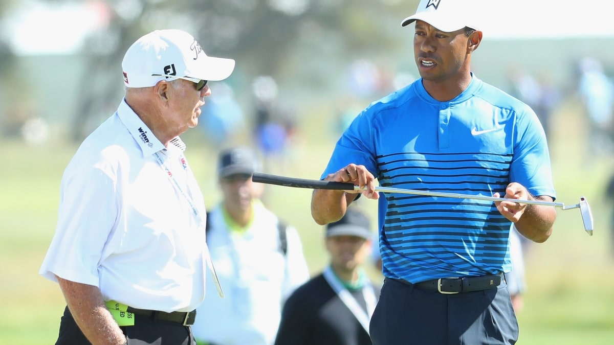 Butch Harmon and Tiger Woods at the 2018 U.S. Open.