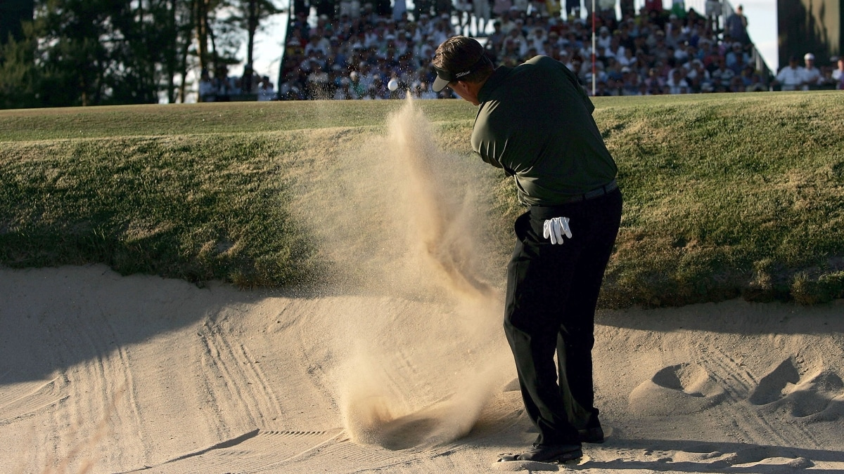 Phil Mickelson from a greenside bunker on the par-3 17th in the final round of the 2004 U.S. Open.
