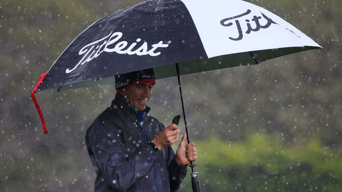 Mickelson leads as play suspended at Pebble Beach