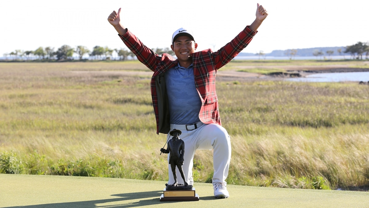 C.T. Pan with RBC Heritage trophy and tartan jacket