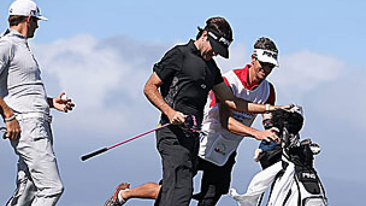 Dustin Johnson, Bubba Watson and Ted Scott in the 2013 Hyundai Tournament of Champions first round