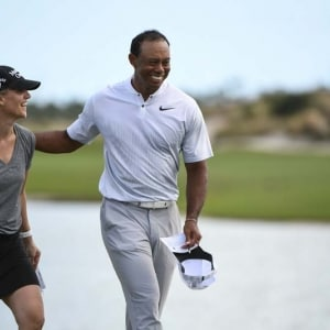Emma Stenson and Tiger Woods