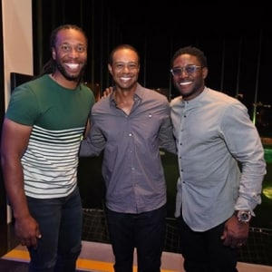 Larry Fitzgerald, Tiger Woods and Reggie Bush