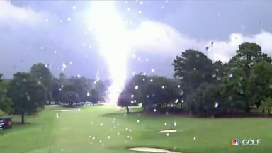 See the lightning strike that halted play at East Lake
