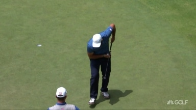 Reed breaks out 'shovel' after fan screams at him to miss putt