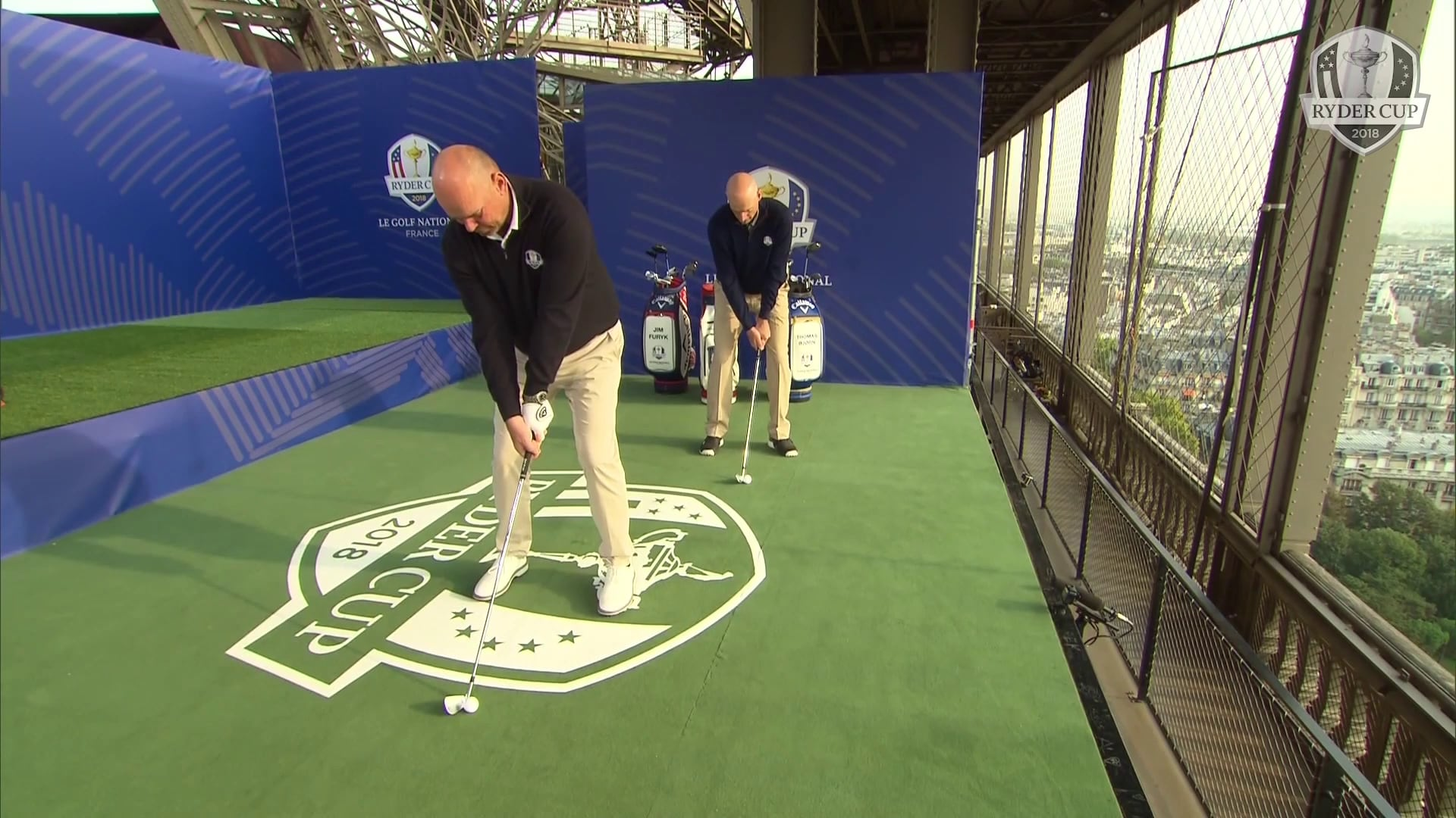 2018 ryder cup  captains hit shots off ieiffel tower