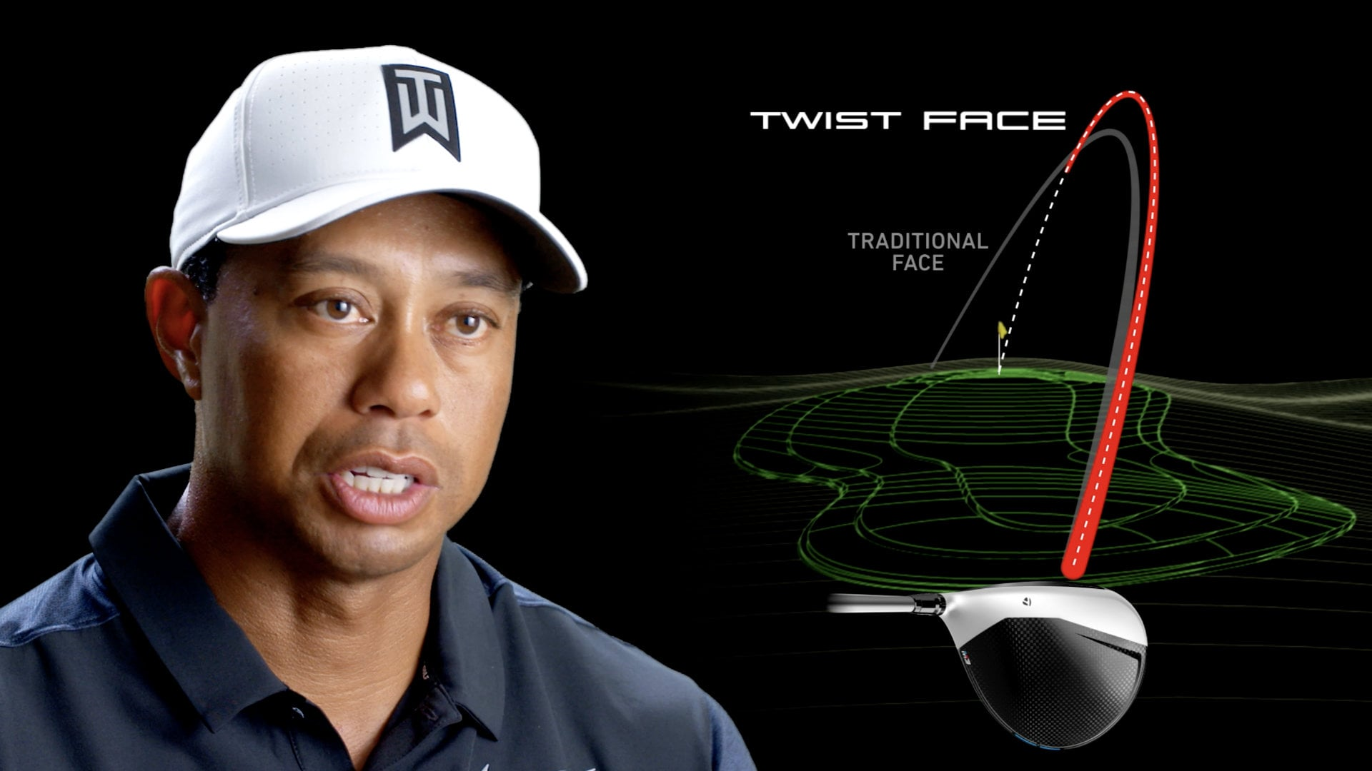 sponsored  tiger woods with a twist face