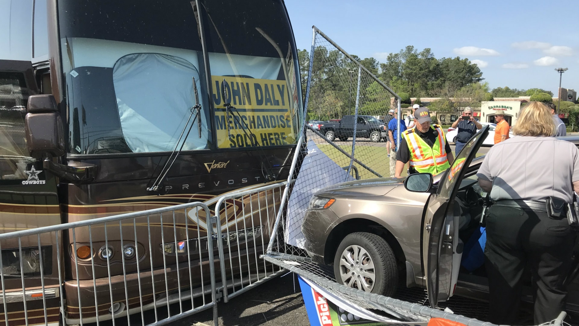 Car crashes into John Daly\'s bus in Augusta parking lot | Golf Channel