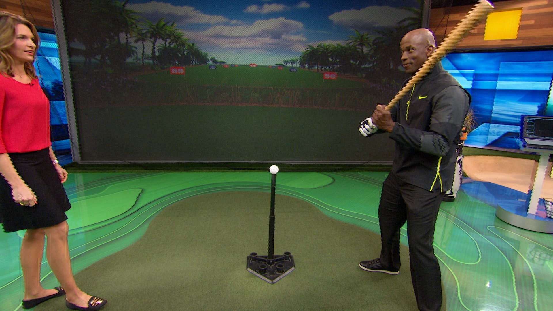 cara robinson gets baseball lesson from fred mcgriff