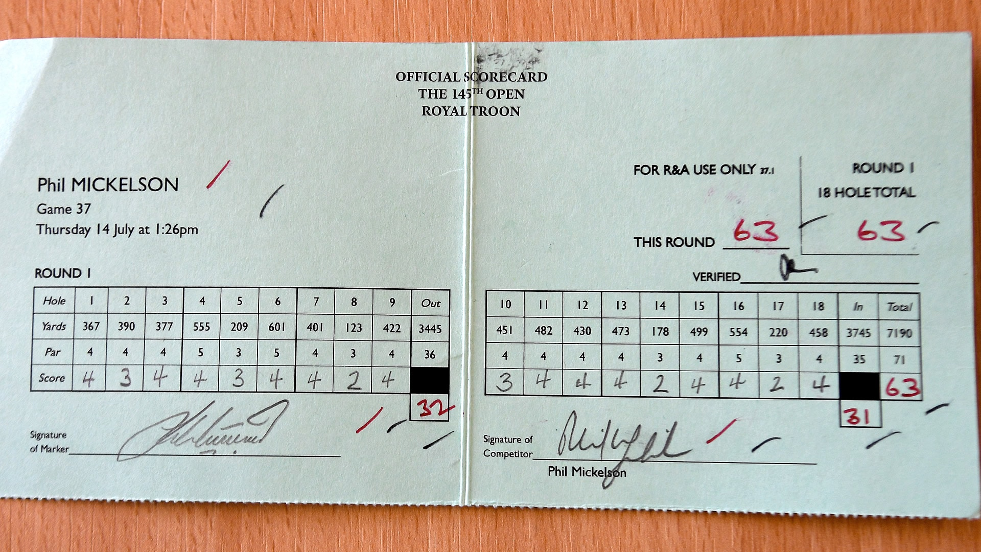 phil mickelson u0026 39 s scorecard  what a 63 really looks like