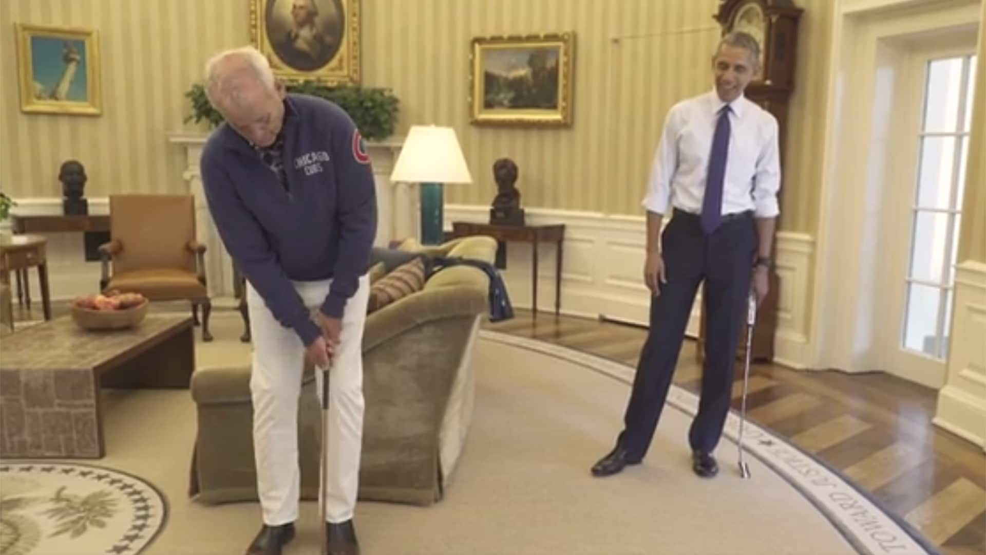 Bill Murray Obama talk trash while putting in Oval Office Golf