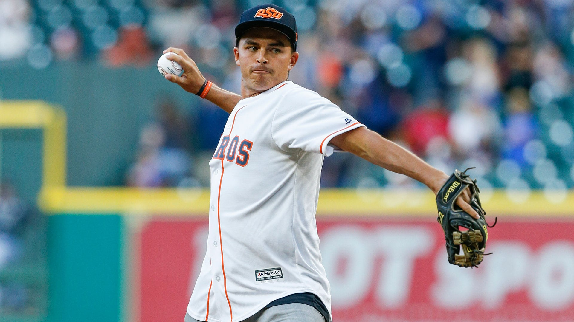 Rickie Fowler Throws Out First Pitch At Houston Astros