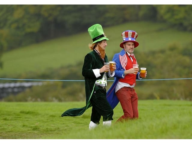Fans supporting their ryder cup teams golf fans watch the