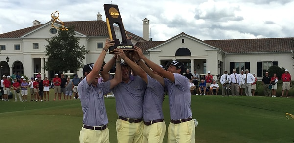 LSU men's golf team with NCAA trophy