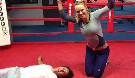 Caroline Wozniacki and Thorbjorn Olesen Fight in Boxing ...